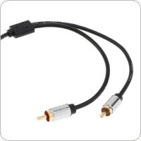 DiGiYes 3.5mm Male to 2RCA Male Stereo Audio Adapter Cable Gold Plated for Smartphones / MP3 / Tablets / Home Theater
