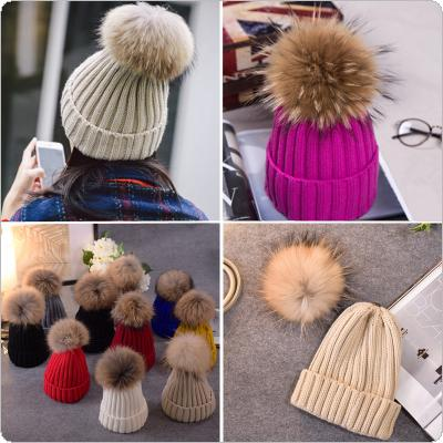 Adult Autumn and Winter Knit Raccoon Fur Pom Hat Crochet Ski Cap
