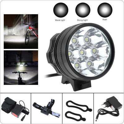 Bike Cycle 7 x CREE XM-L2 T6 LED Front Head Headlight Bicycle Light Torch 3 Modes 5000lm + 1 x 8.4V Rechargeable 6000mAh 18650 Battery Pack