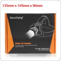 SecurityIng LED Headlamp  Package Box Fit for CREE, XM-L T6  LED Headlamp + 2 x 18650 Battery