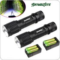 2Pcs Skywolfeye 1200 Lumens Tactical XM-L T6 Zoomable LED Flashlight Torch 5 Modes + 4pcs 18650 Battery + 2pcs Charger