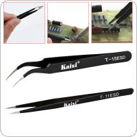 Kaisi 2pcs Anti Static Stainless Steel Tweezers Repairing Maintenance Tools Nipper Picking Tool