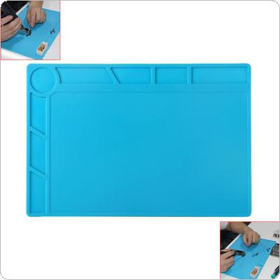 35x25cm Heat Insulation Silicone Pad Desk Mat Maintenance Platform Soldering Repair Station with 200 Screw Grooves