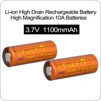 TrustFire 2pcs 3.7V 1100mAh IMR 18500 High Magnification Li-ion Rechargeable  Battery  for  LED Flashlights / Headlamps