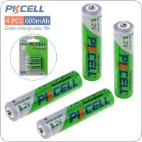 4pcs Pkcell 1.2V AAA Ni-Mh 600mAh LSD Rechargeable Batteries High Capacity Pre charged Batteries Set With 1200 Cycle