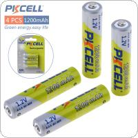 Pkcell 4pcs 1.2V AAA Ni-Mh 1200mAh Rechargeable Batteries High Capacity Batteries Set With 1000 Cycle for Digital Camera / Game / MP3 / Headlamp