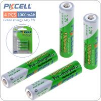 Pkcell 4pcs 1.2V AAA Ni-Mh 1000mAh LSD Rechargeable Batteries High Capacity Pre charged Batteries Set With 1200 Cycle Fit for PDA / Digital Camera / Game / MP3
