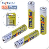 Pkcell 4pcs 1.2V AAA Ni-Mh 600mAh Rechargeable Batteries High Capacity Batteries Set With 1000 Cycle for Alarm / Clock / Wireless Mouse / Game Handle