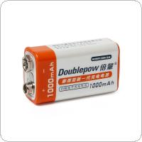 Doublepow 9V 1000mAh LSD Li-ion Rechargeable Battery Prismatic Batteries with 1200 Cycle