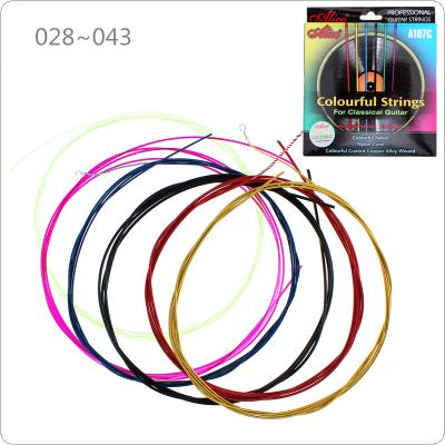 6pcs/set Colorful Strings Classical Guitar Strings 028 - 043 Inch Nylon Coated Copper Alloy String