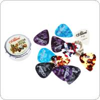 12pcs Acoustic Electric Guitar Picks Plectrums 0.46 / 0.71 / 0.81mm Celluloid Guitar Picks + Metal Box
