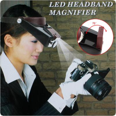 10X Headband Magnifier Head Magnifying Glass Lens Loupe with LED Light for Jewel Repair