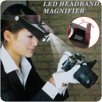 10X ABS/PP Resin Adjustable Headband  Magnifier Glass Lens with LED Lights for  Repairing / Reading