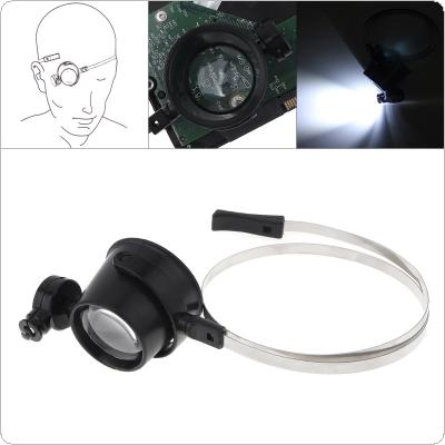 15X LED Eye-Clamp-Free Magnifier Loupe Magnifying Glass Loupe Jewelry Watch Clock Repair Magnify Glasses with LED Light