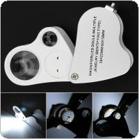 30X / 60X Illuminated Plastic Metal Optical Lenses Glass Loupe Dual Lens with 2 LED Lights for Reading and Inspection