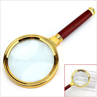 6X 80mm Handheld Magnifier with Wooden Handle Metal Frame Magnifying Glass Loupe for Reading Jewelry