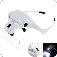 3.5X Portable 5 Amplification Ratio Adjustable Interchangeable Lens Headband Eyeglass Magnifier with LED Lights and Headband/   5 Lens for  Repairing / Reading