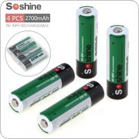Soshine 4pcs Ni-MH 1.2V AA 2700mAh Rechargeable Batteries +Portable Battery Box for Alarm / Clock / Toys / Game Handle