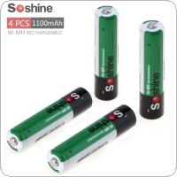 Soshine 4pcs Ni-MH 1.2V AAA 1100mAh Rechargeable Batteries + Portable Battery Box for Alarm / Clock / Toys / Game Handle