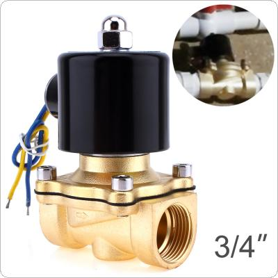 "Solenoid Valve DC 12V 3/4"" NPT N/C Brass Normally Closed Electric Valve for Water Oil Air Gas Fuels"