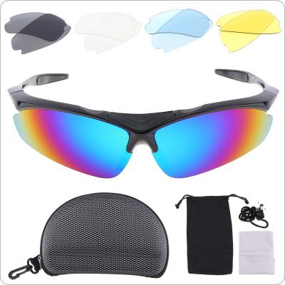 Bicycle Glasses Polarized Sunglasses Goggles Cycling Eyewear Present Myopia Frame with 5 Groups of Lenses