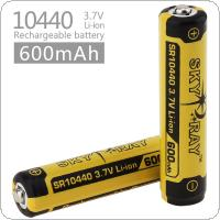 Skyray 2pcs 3.7V 600mAh 10440 Rechargeable Li-ion Battery with Protected PCB for LED Flashlights / Headlamps