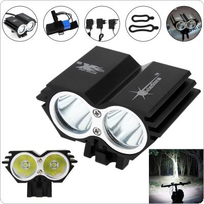 SolarStorm 2400LM X2 CREE XM-L U2 Waterproof Bicycle LED Headlight with Rechargable Battery + Charger + Rubber Ring