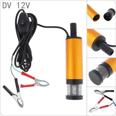 Aluminum Alloy Car Electric Submersible Pump 12V Fuel Water Oil Transfer Pump with 2 Alligator Clips