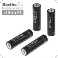 Soshine 4pcs 3.2V 700mAh 14500 LiFePO4 Rechargeable AA Battery and 2 Connectors + Portable Battery Box for LED Flashlights / Headlamps