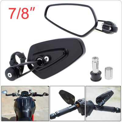 "Universal 2x 7 / 8"" Aluminum Motorcycle Rearview Mirrors Black Billet Bar Side Mirrors"