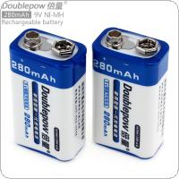 Doublepow 2pcs 9V 6F22 280mAh NI-MH LSD Rechargeable Battery with 1A Charge Current for Microphones / Multimeters