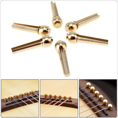 6pcs/set Pure Copper Brass Guitar Bridge Pin Strings Nail Pegs for Folk Acoustic Guitar Keep Full Timbre More Stable