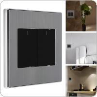 2 Gang 2 Way 250V 10A Control Brushed Stainless Steel Panel Click Wall Switch with LED Indicator Light Waterproof