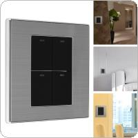 4 Gang 2 Way 250V 10A Control Brushed Stainless Steel Panel Click Wall Switch with LED Indicator Light Waterproof