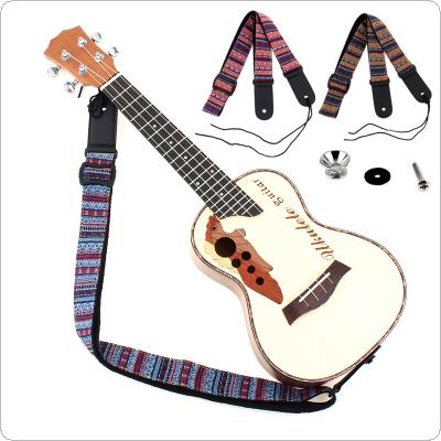 Adjustable 75 - 130cm Ukulele Guitar Strap Cotton Leather Bohemian Style Sling Belt Buckle with Tail Nail