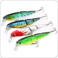 4pcs 3 Sections Minnow Fishing Lure Kit 10.5cm 15g Hard Bait with 6# High Carbon Steel Treble Hook Color Random
