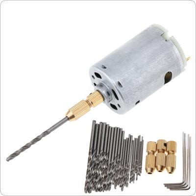 12V DC Mini Electric Motor DIY Hand Drill with 3pcs Brass Drill Collet 24pcs Micro Twist Drill and 4pcs Hexagon Screw Wrench