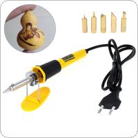 AC220V 40W EU Plug Wood Burning Soldering Pen with 5 Tips and Stand Holder for Wood Pyrography / Hobby / Craft / DIY