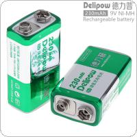 Delipow 2pcs 9V 6F22 230mAh Ni-MH Rechargeable Battery with 1A Charge Current for Microphones / Instruments Meters