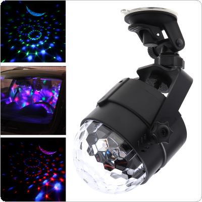 3W Colorful USB 5V LED Crystal Magic Rotating Ball Stage Light with Sound Control for Car / KTV / Party / Disco