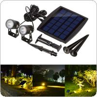 Outdoor Solar Powered Light Ultra Bright Submersible Lamp 2 LED Waterproof Spotlight for Garden / Pool / Lawn / Patio