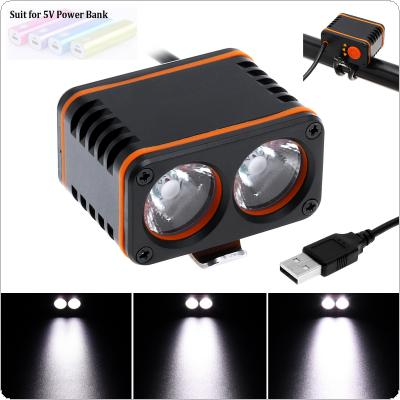 Waterproof 1000 Lumen T6 X2 LED 4-Mode Bicycle Head Light Cycling Front Lamp with USB Charging for Night Riding / Travel Camping