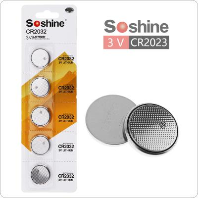 Soshine 5pcs CR2032 3V 210mAh Lithium Button Coin Battery for Watches / Calculators / Toys / Electronic Devices