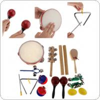 16Pcs/Lot Musical Instruments Set 10 Kinds Kindergarten Kids Tambourine Drum Percussion Toys for Children / Baby / Early Education