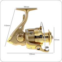 3000 / 4000 Series 6BB Spinning Fishing Reel 5.2:1 Plating Golden Color Left / Right Interchangeable Collapsible Handle