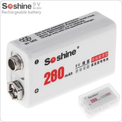 Soshine 9V 6F22 280mAh Ni-MH Rechargeable Battery + Portable Battery Box for Microphones / Instruments Meters