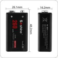 Soshine 9V 6F22 260mAh Ni-MH Rechargeable Battery + Portable Battery Box for Microphones / Instruments Meters