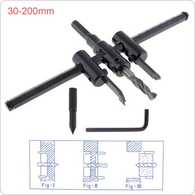 30-200mm Adjustable Aircraft-type Wood Circle Hole Saw Cutter Tool Kit Cordless Drill Bit for Woodworking