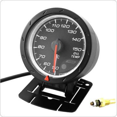 60MM 2.5Inch 12V 50~150 Degree Celsius Universal  LED Electrical Car Oil Temp Temperature Gauge Meter Black Shell with Red & White Lighting