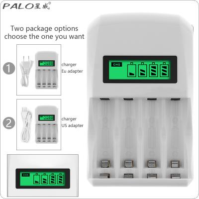 PALO 4 Slots LCD Display Intelligent Quick Battery Charger for AA / AAA / Ni Cd NiMh Rechargeable Batteries Support Different Battery Mixed Charging